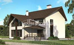 300-002-R Two Story House Plans with mansard and garage, classic House Blueprints,