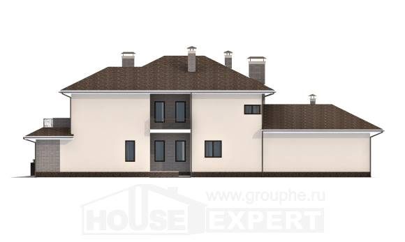 500-001-R Three Story House Plans with garage under, big Building Plan,