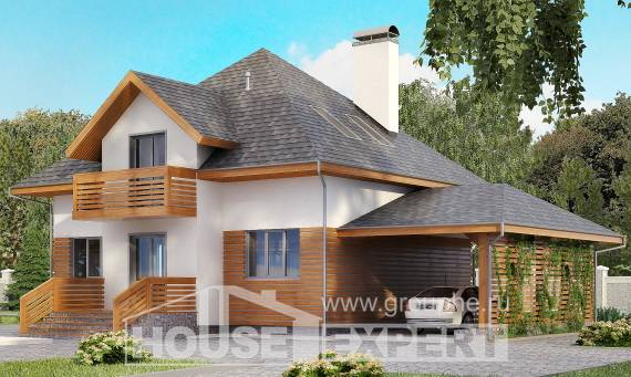 155-004-R Two Story House Plans with mansard with garage, inexpensive Plan Online,