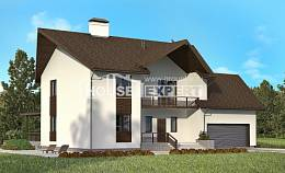 300-002-R Two Story House Plans and mansard with garage in front, modern House Blueprints,
