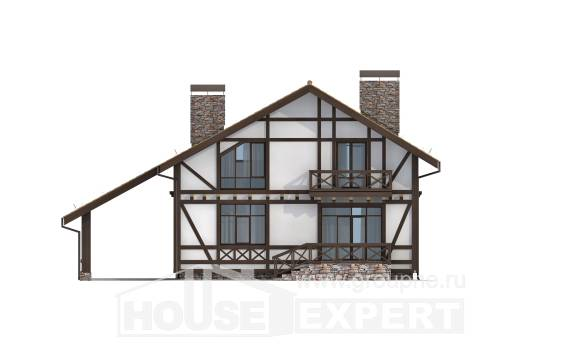 155-002-R Two Story House Plans with mansard roof with garage in back, the budget Models Plans,