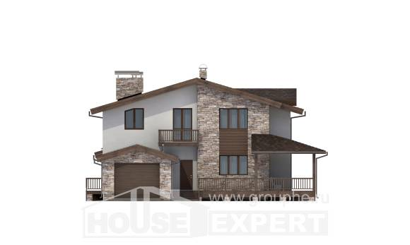 220-001-R Two Story House Plans and mansard with garage in front, cozy Models Plans,