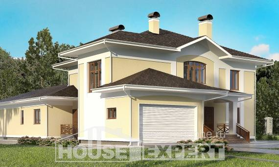 375-002-L Two Story House Plans with garage under, big Architect Plans,
