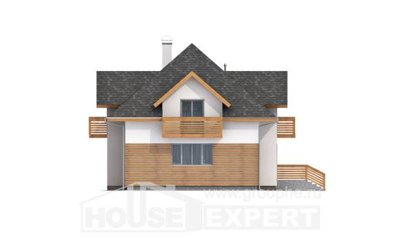 155-004-R Two Story House Plans and mansard with garage under, the budget Home House,