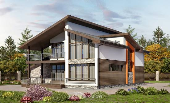 200-010-R Two Story House Plans with mansard roof and garage, modern Building Plan,