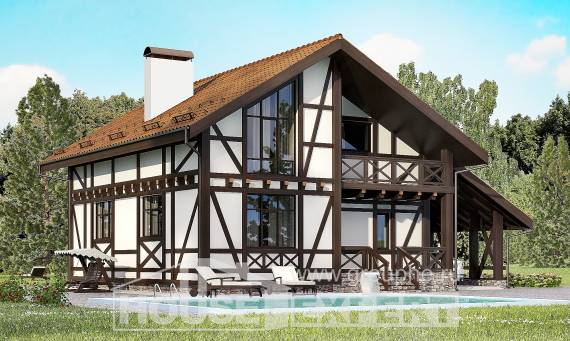 155-002-R Two Story House Plans and mansard with garage, classic Cottages Plans,