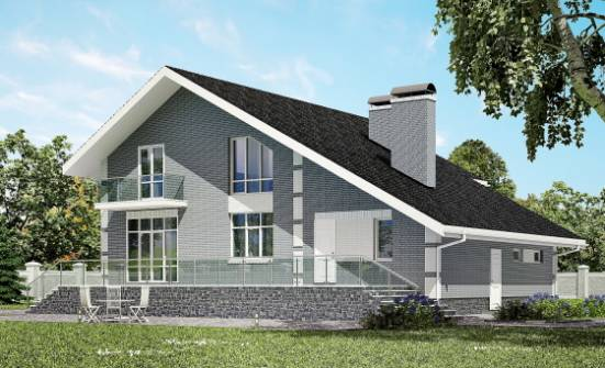 190-006-L Two Story House Plans with mansard with garage in back, spacious Design Blueprints,