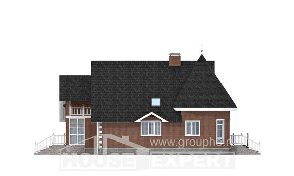 220-002-L Two Story House Plans and mansard with garage in back, average Custom Home Plans Online,