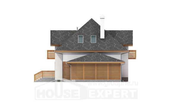 155-004-R Two Story House Plans with mansard roof and garage, modest Villa Plan,