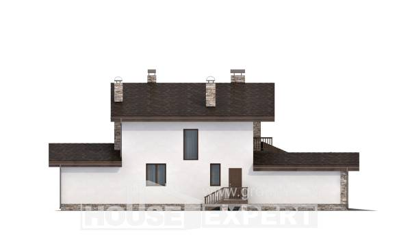 220-001-R Two Story House Plans with mansard roof with garage, average Plans Free,