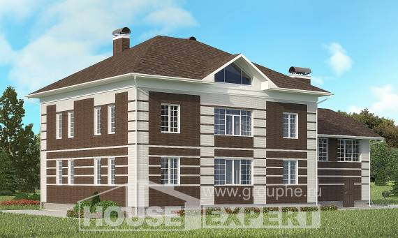 505-002-L Three Story House Plans with garage under, cozy Design Blueprints,