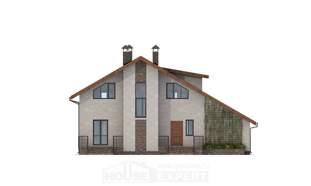 180-008-L Two Story House Plans and mansard with garage, modern Architects House,
