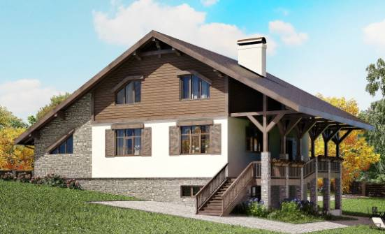 300-003-R Three Story House Plans with mansard roof and garage, a huge Blueprints,
