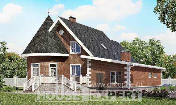 220-002-L Two Story House Plans with mansard roof with garage, modern Timber Frame Houses Plans,