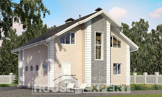 150-002-R Two Story House Plans with mansard with garage in front, modest Models Plans,