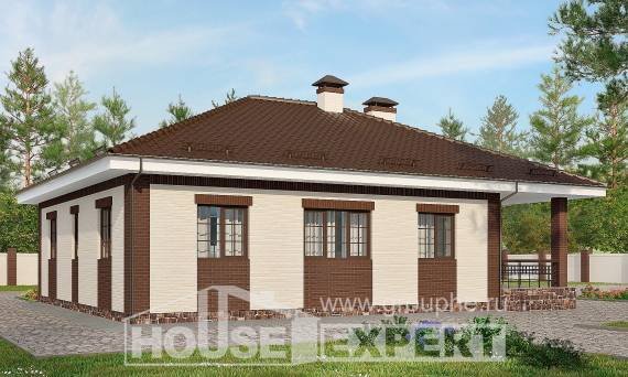 160-015-R One Story House Plans with garage, classic Villa Plan,