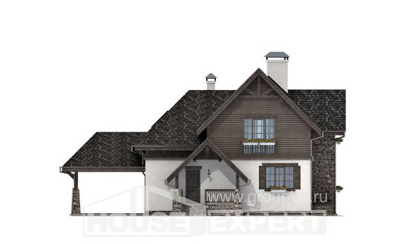 160-002-L Two Story House Plans and mansard with garage in front, beautiful Tiny House Plans,