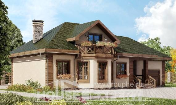 180-010-R Two Story House Plans with mansard with garage under, cozy Architects House,