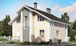 150-002-R Two Story House Plans with mansard with garage in back, the budget Dream Plan,