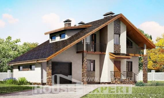 180-008-L Two Story House Plans with mansard with garage in back, average Blueprints of House Plans,