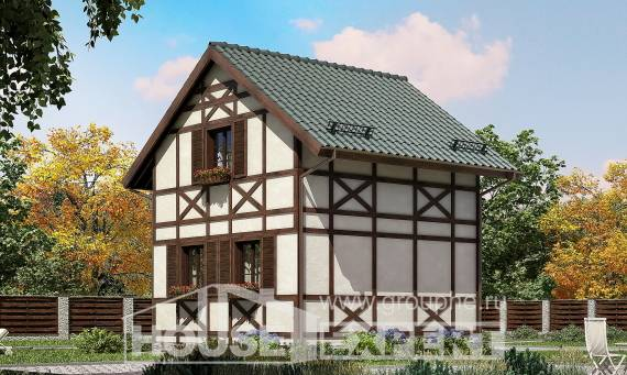 060-002-R Two Story House Plans with mansard roof, economy Architectural Plans,