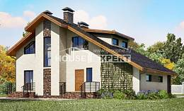 180-008-L Two Story House Plans with mansard roof with garage, average Online Floor,