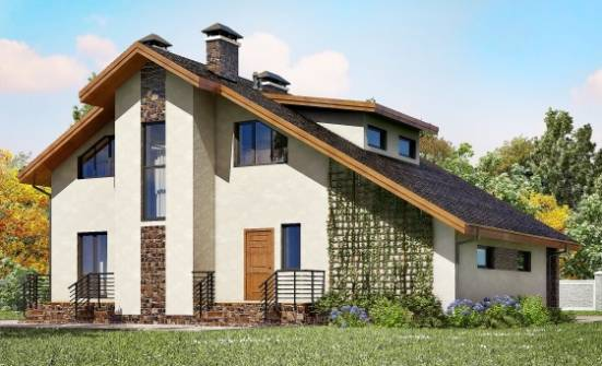 180-008-L Two Story House Plans and mansard with garage under, cozy Construction Plans,