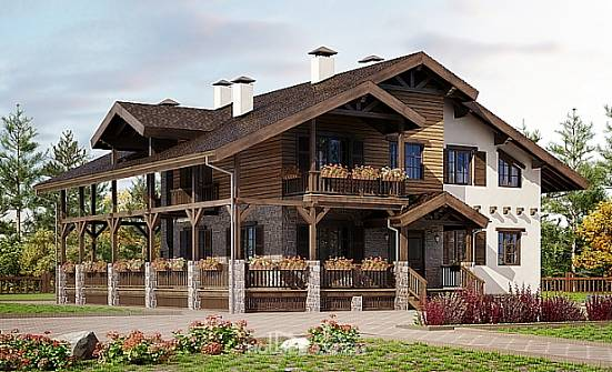 400-004-R Three Story House Plans with mansard roof with garage in back, luxury Timber Frame Houses Plans,