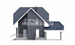 125-002-L Two Story House Plans with mansard roof with garage, inexpensive Construction Plans,