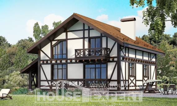 155-002-R Two Story House Plans with mansard roof with garage in front, compact Cottages Plans,