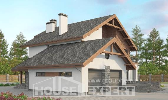 270-003-L Two Story House Plans with mansard roof with garage under, classic Custom Home,