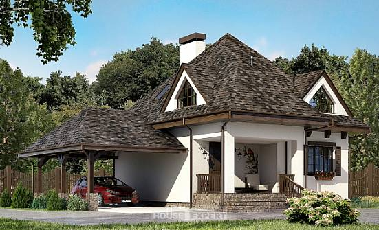 110-002-L Two Story House Plans with mansard with garage, the budget Building Plan,