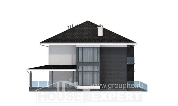 245-002-R Two Story House Plans with garage under, cozy Home Plans,