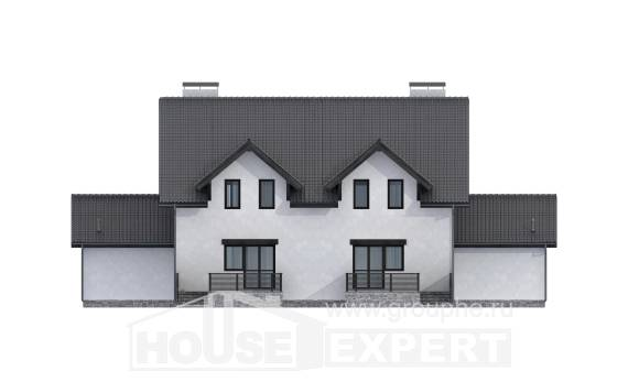 290-003-R Two Story House Plans with mansard with garage in back, spacious Home Plans, House Expert