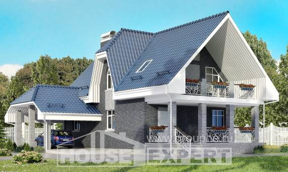 125-002-L Two Story House Plans with mansard roof with garage, small Planning And Design,