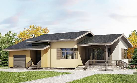 135-002-L One Story House Plans with garage in back, cozy House Blueprints,