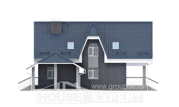 125-002-L Two Story House Plans with mansard roof with garage, small Timber Frame Houses Plans,