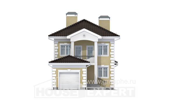 150-006-L Two Story House Plans with garage under, a simple House Online,