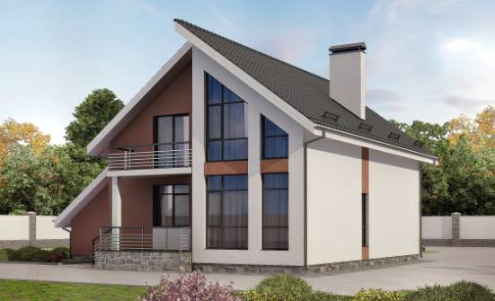 200-007-R Two Story House Plans with mansard and garage, best house Planning And Design,