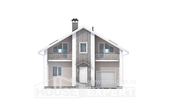 150-002-R Two Story House Plans with mansard with garage under, best house Timber Frame Houses Plans,