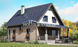 130-003-R Two Story House Plans with mansard, compact Online Floor,