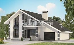180-001-R Two Story House Plans with mansard with garage in front, compact Plans To Build,