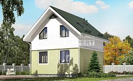 070-001-R Two Story House Plans with mansard, compact Architectural Plans,