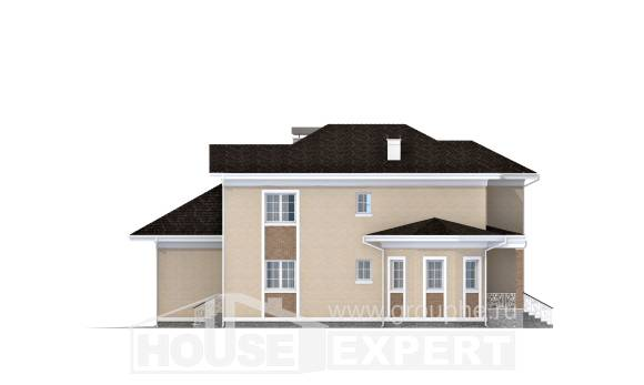 335-001-L Two Story House Plans with garage under, modern Villa Plan,