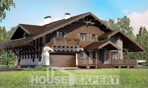 320-001-R Two Story House Plans with mansard and garage, a huge Planning And Design,