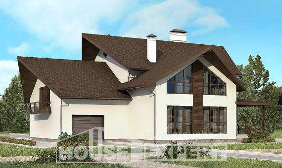 300-002-R Two Story House Plans with mansard roof with garage in back, modern Design House,