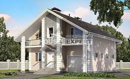150-002-R Two Story House Plans and mansard with garage under, the budget Home House,
