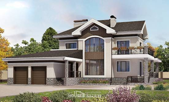 365-001-L Two Story House Plans with garage under, a huge House Plan,