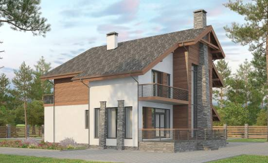 270-003-L Two Story House Plans with mansard with garage in back, modern Woodhouses Plans,