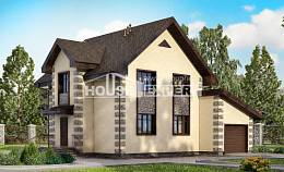 160-004-R Two Story House Plans with mansard roof with garage under, modest Cottages Plans,